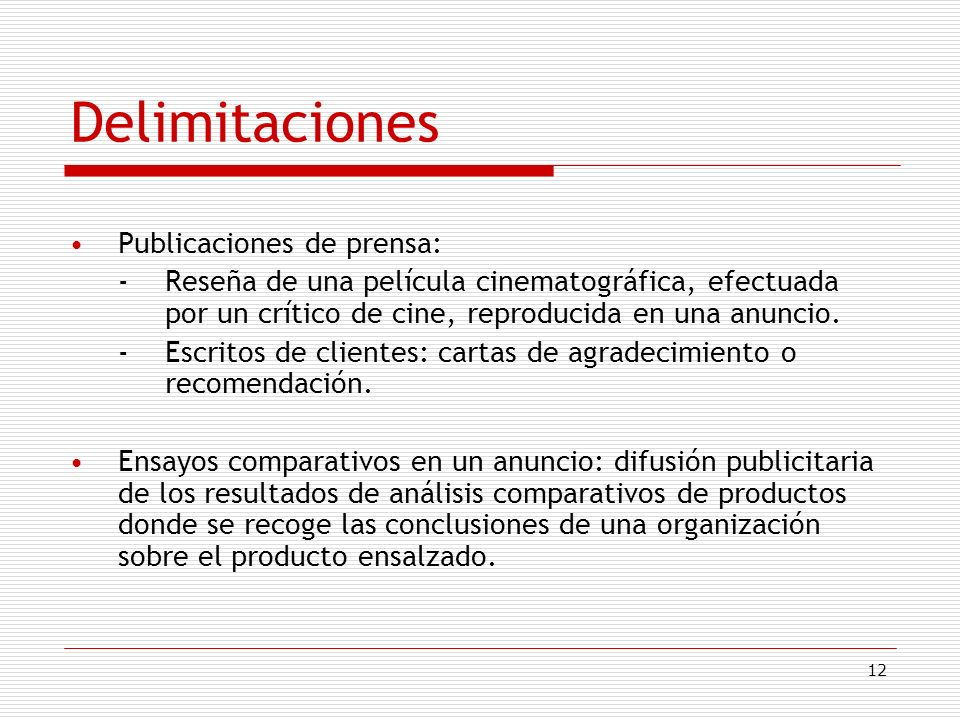 Delimitaciones Publicaciones de prensa: