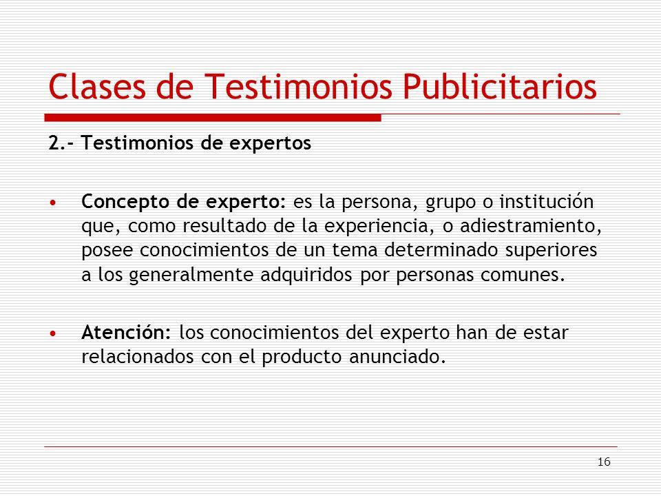 Clases de Testimonios Publicitarios