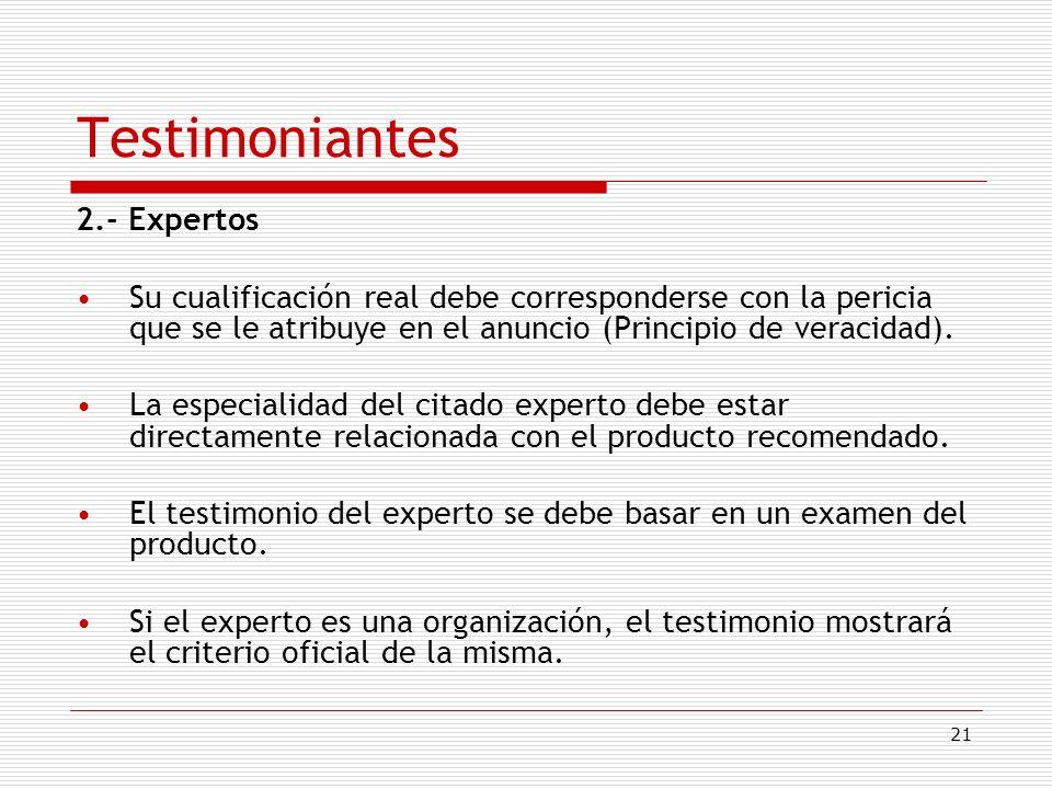 Testimoniantes 2.- Expertos