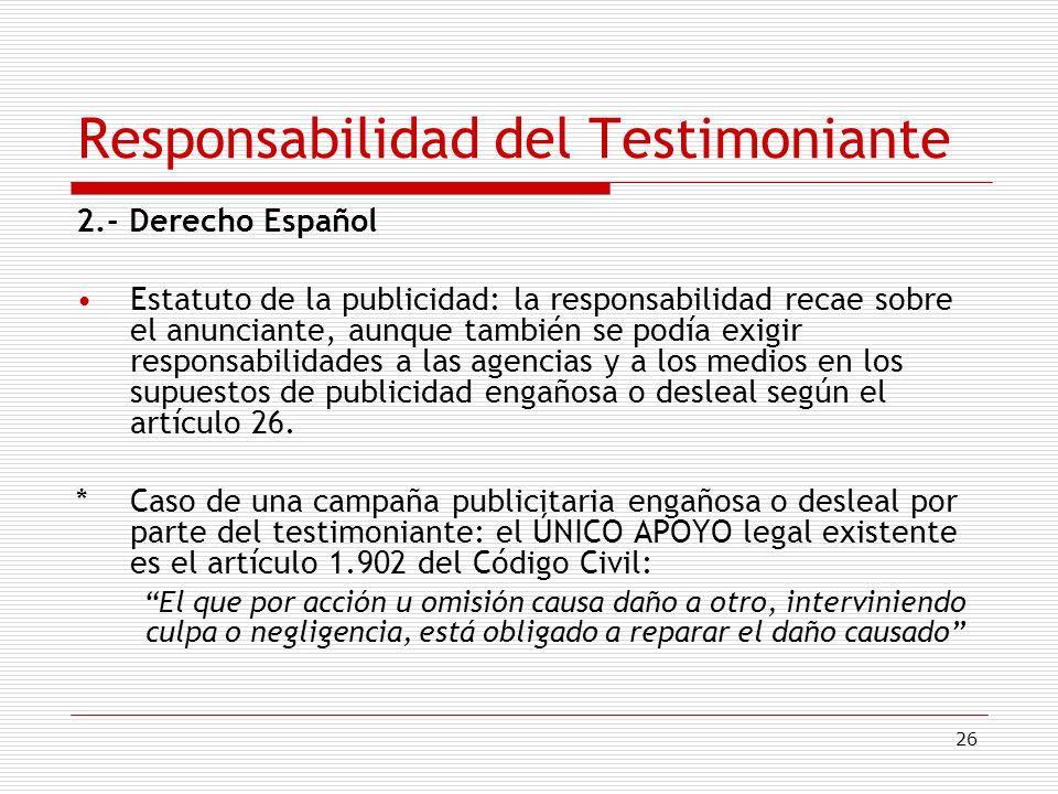 Responsabilidad del Testimoniante