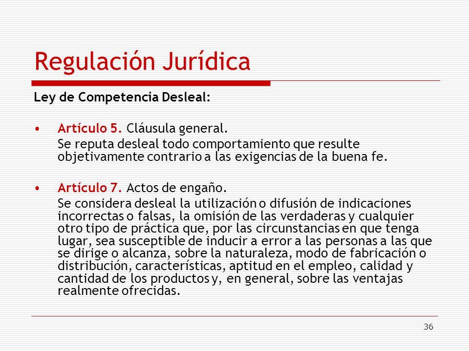 Regulación Jurídica Ley de Competencia Desleal: