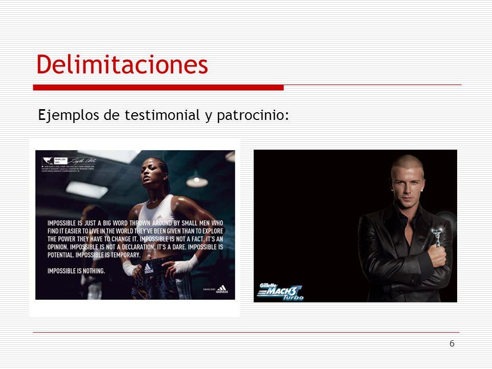 Delimitaciones Ejemplos de testimonial y patrocinio: