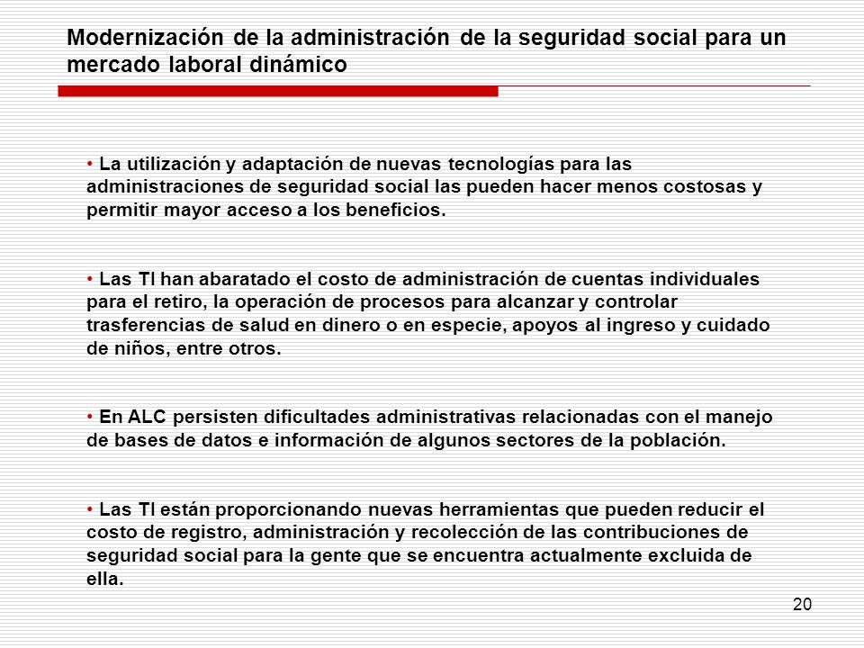 Modernización de la administración de la seguridad social para un mercado laboral dinámico