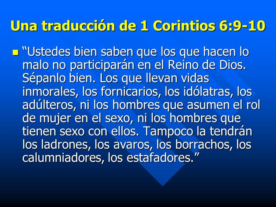 Una traducción de 1 Corintios 6:9-10