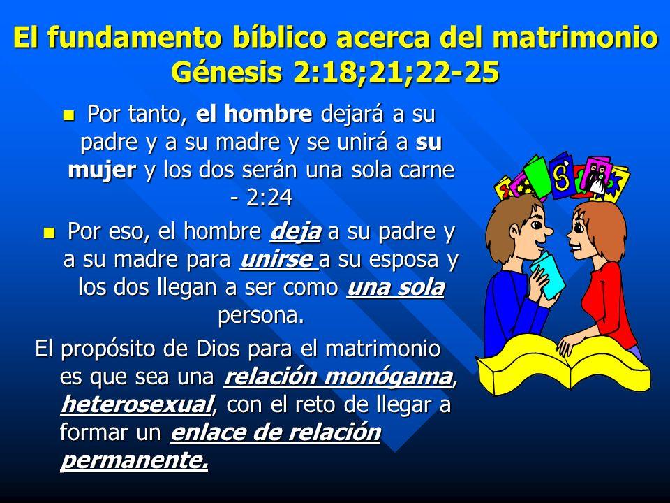 El fundamento bíblico acerca del matrimonio Génesis 2:18;21;22-25