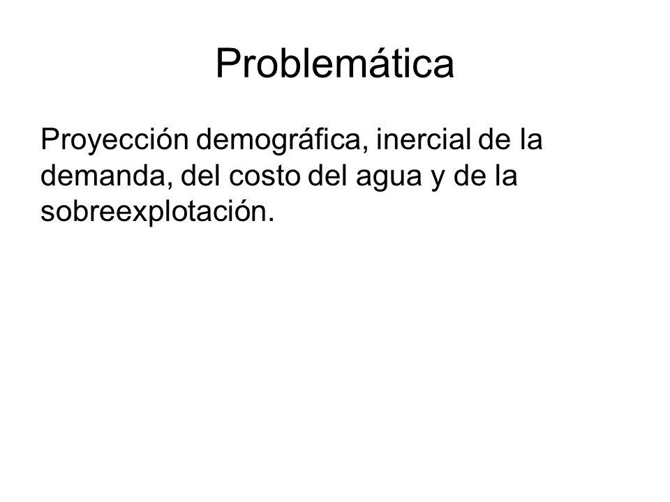 Problemática Proyección demográfica, inercial de la demanda, del costo del agua y de la sobreexplotación.