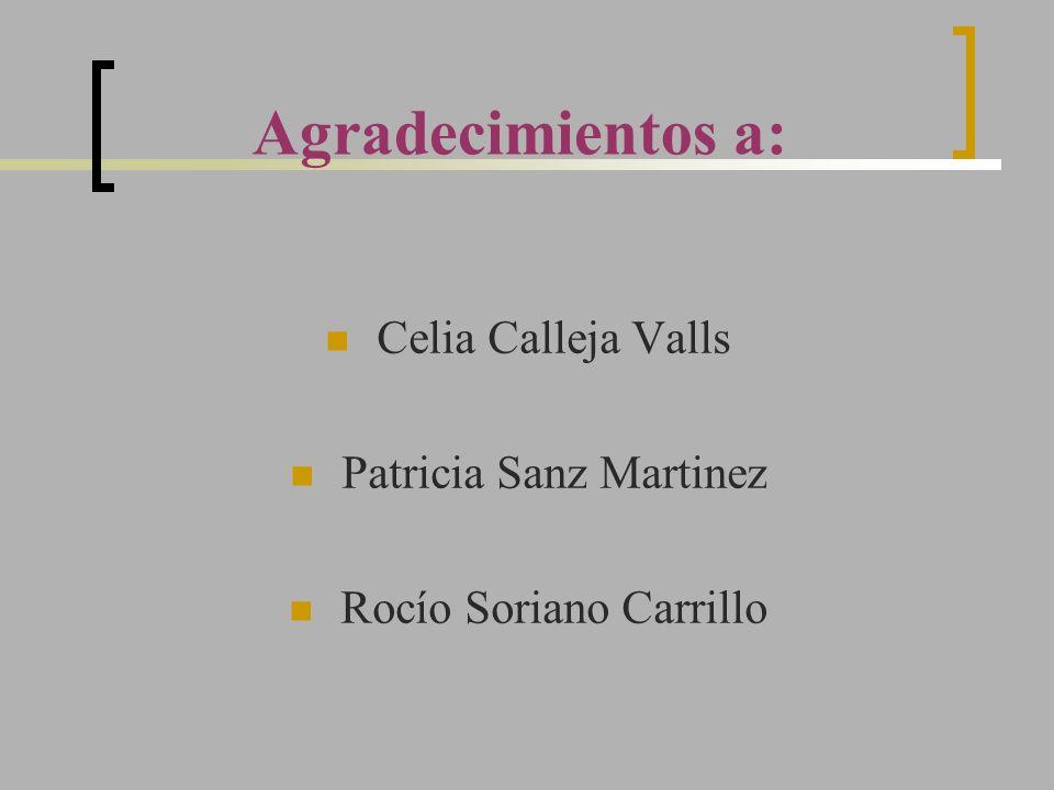 Agradecimientos a: Celia Calleja Valls Patricia Sanz Martinez