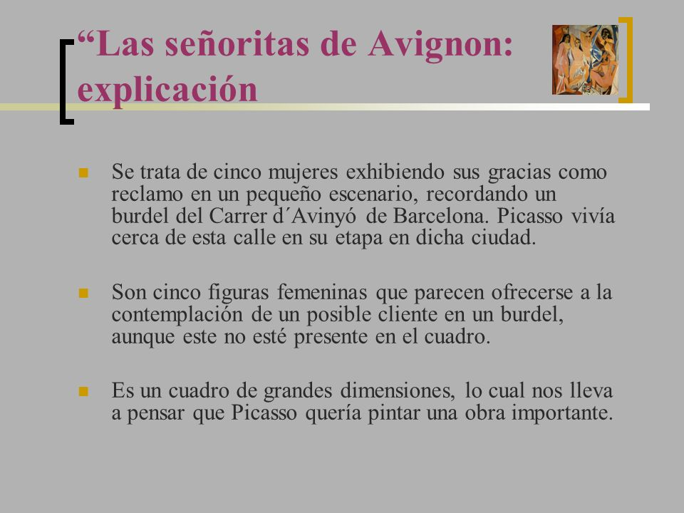 Las señoritas de Avignon: explicación