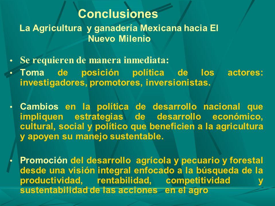 Conclusiones La Agricultura y ganadería Mexicana hacia El Nuevo Milenio