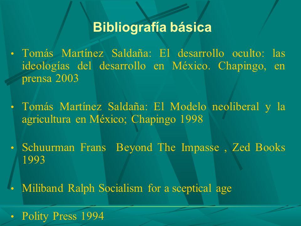Bibliografía básica Tomás Martínez Saldaña: El desarrollo oculto: las ideologías del desarrollo en México. Chapingo, en prensa 2003.