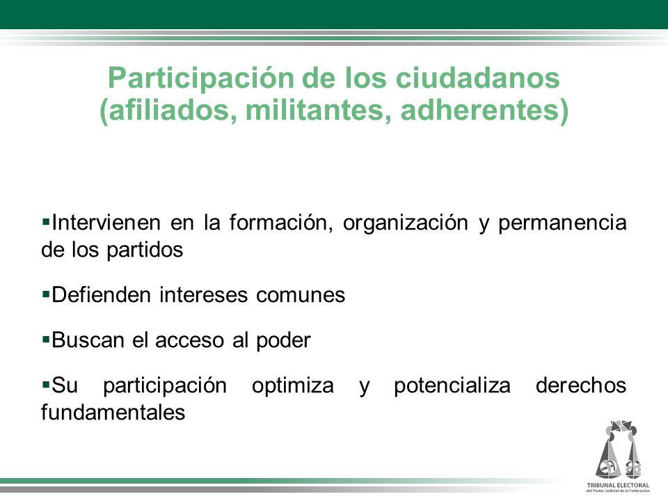 Participación de los ciudadanos (afiliados, militantes, adherentes)