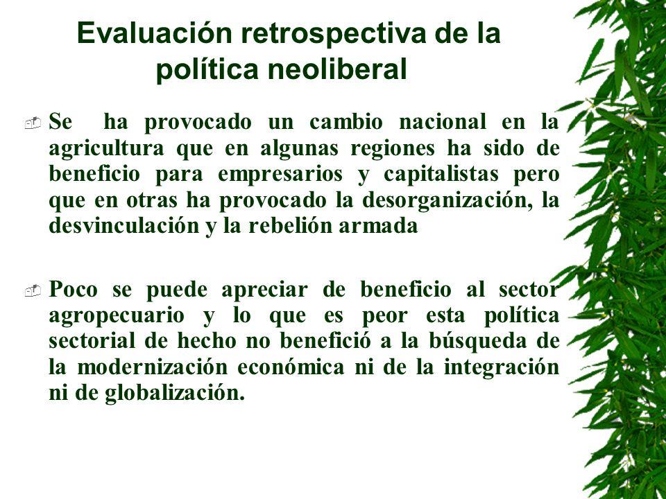 Evaluación retrospectiva de la política neoliberal