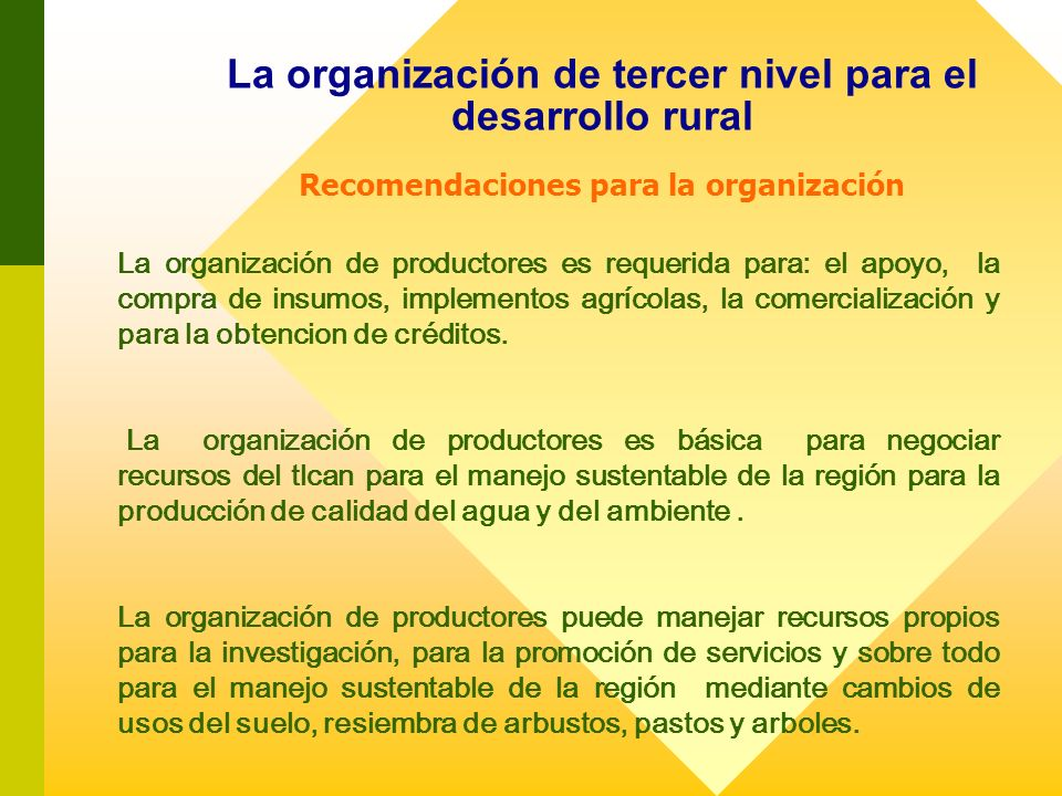 La organización de tercer nivel para el desarrollo rural Recomendaciones para la organización