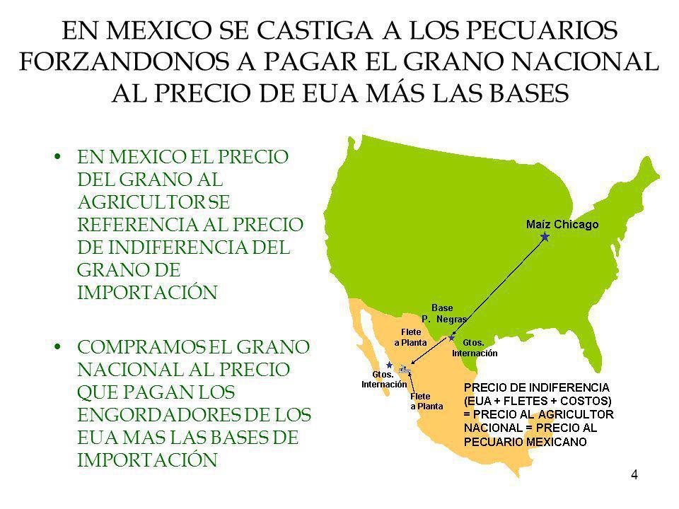 EN MEXICO SE CASTIGA A LOS PECUARIOS FORZANDONOS A PAGAR EL GRANO NACIONAL AL PRECIO DE EUA MÁS LAS BASES