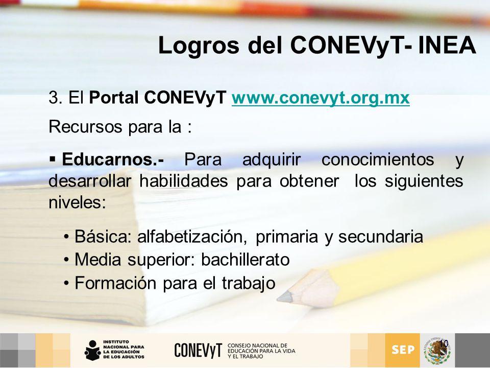 Logros del CONEVyT- INEA