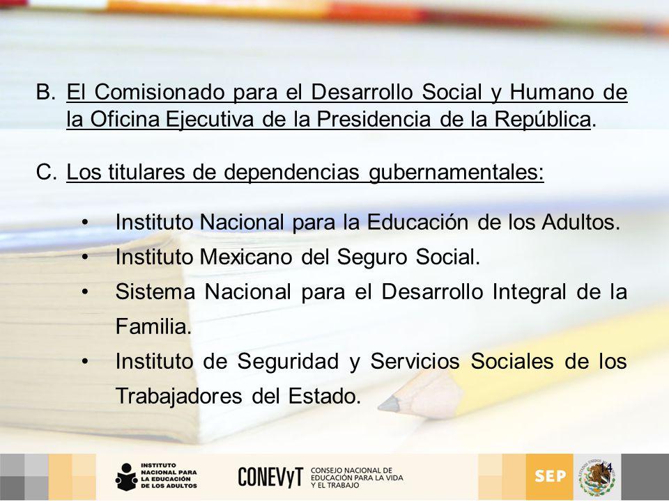 El Comisionado para el Desarrollo Social y Humano de la Oficina Ejecutiva de la Presidencia de la República.