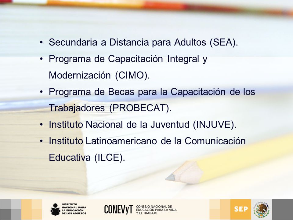 Secundaria a Distancia para Adultos (SEA).