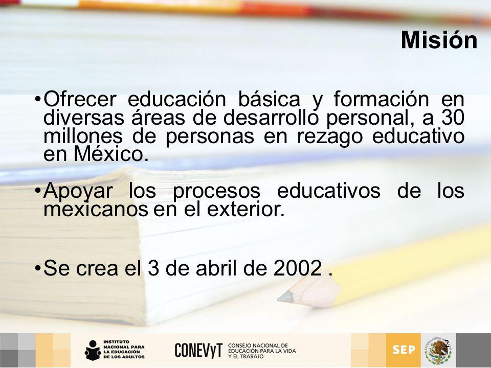 Misión Ofrecer educación básica y formación en diversas áreas de desarrollo personal, a 30 millones de personas en rezago educativo en México.