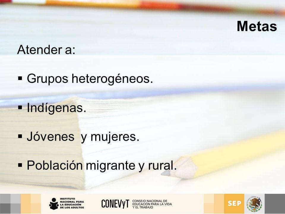 Metas Atender a: Grupos heterogéneos. Indígenas. Jóvenes y mujeres.