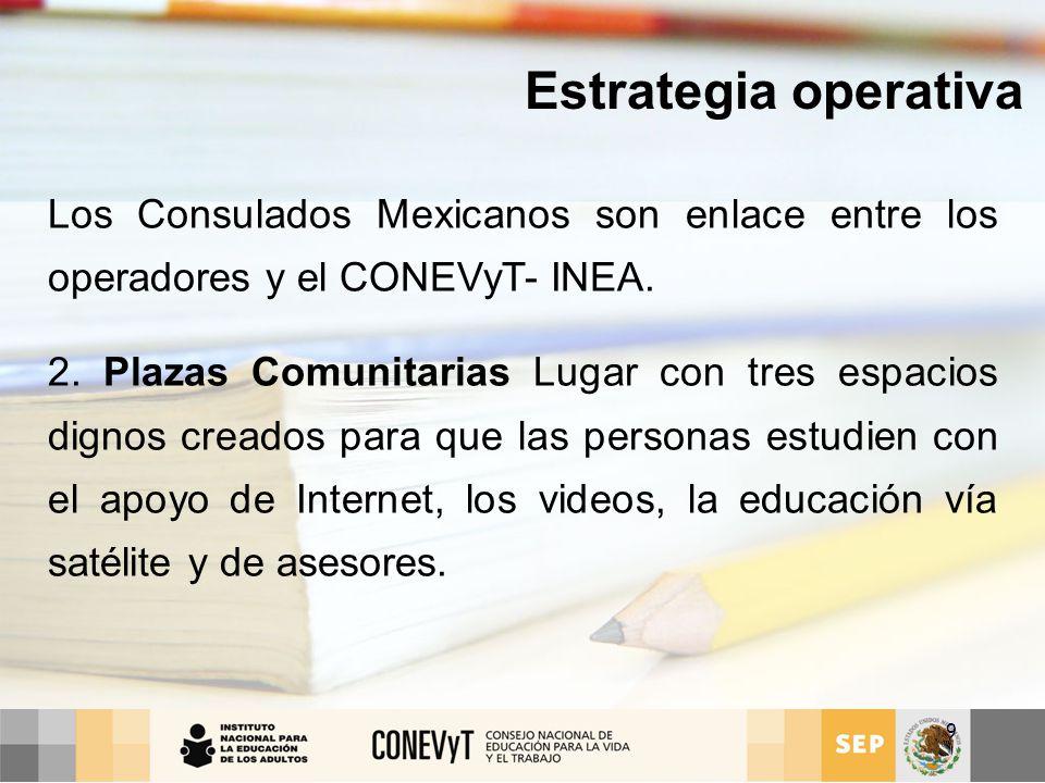 Estrategia operativa Los Consulados Mexicanos son enlace entre los operadores y el CONEVyT- INEA.