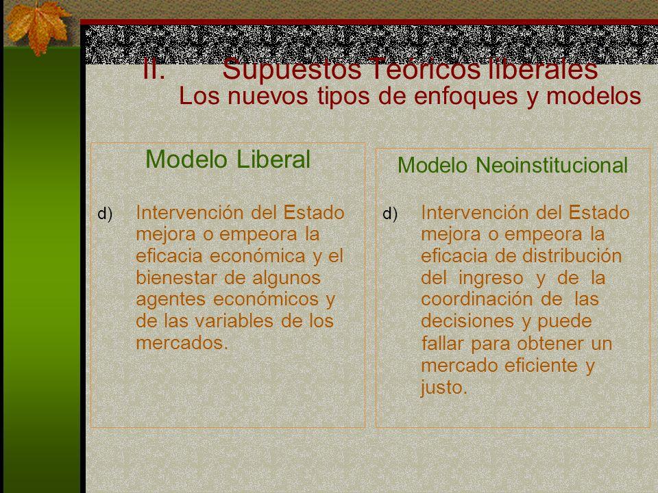 Supuestos Teóricos liberales Los nuevos tipos de enfoques y modelos