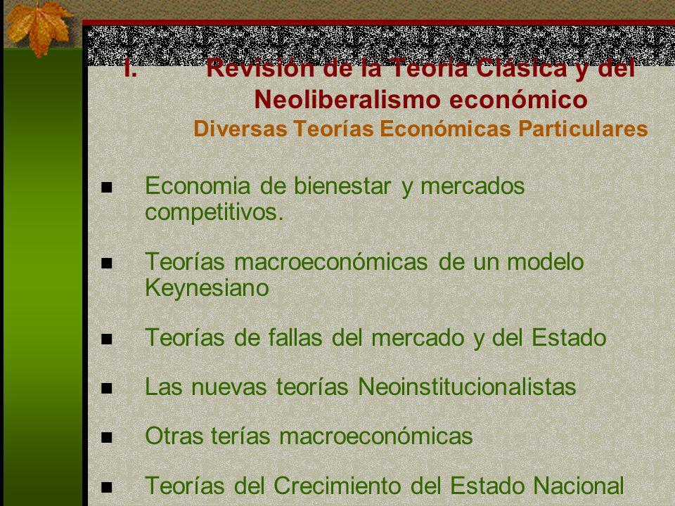 Revisión de la Teoría Clásica y del Neoliberalismo económico Diversas Teorías Económicas Particulares