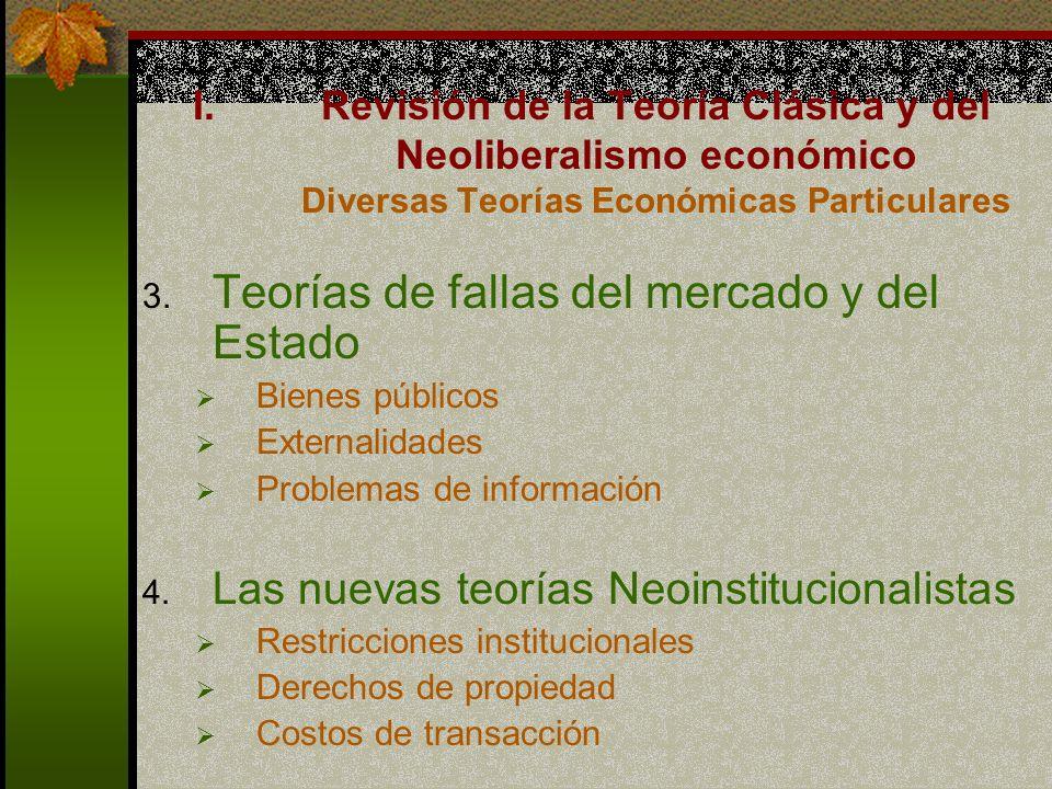 Teorías de fallas del mercado y del Estado