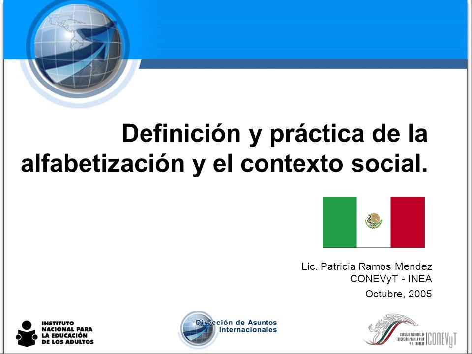 Definición y práctica de la alfabetización y el contexto social.