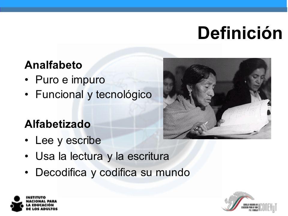 Definición Analfabeto Puro e impuro Funcional y tecnológico