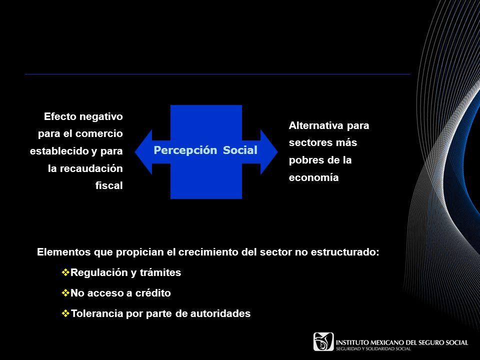 Percepción SocialEfecto negativo para el comercio establecido y para la recaudación fiscal. Alternativa para sectores más pobres de la economía.