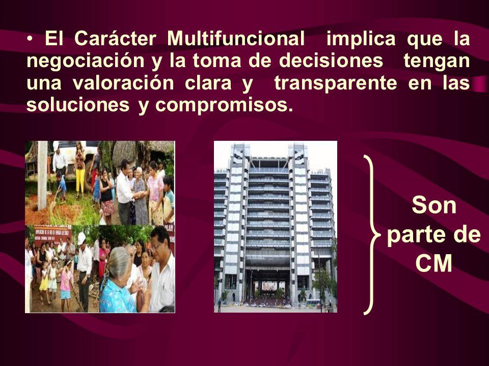 El Carácter Multifuncional implica que la negociación y la toma de decisiones tengan una valoración clara y transparente en las soluciones y compromisos.