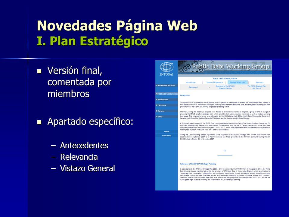Novedades Página Web I. Plan Estratégico