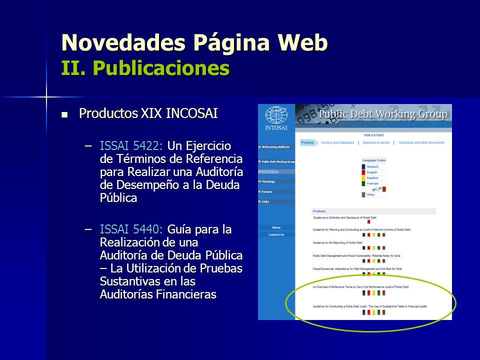 Novedades Página Web II. Publicaciones