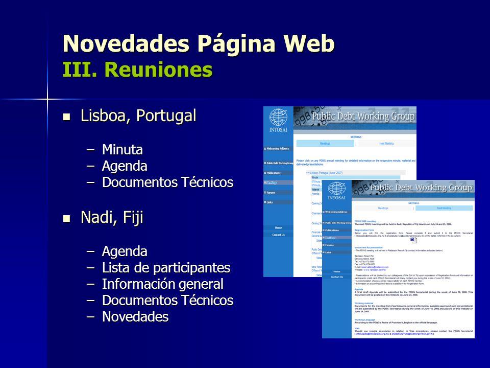 Novedades Página Web III. Reuniones