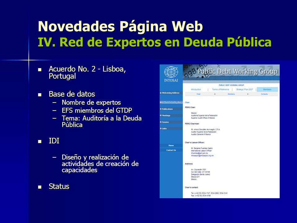 Novedades Página Web IV. Red de Expertos en Deuda Pública
