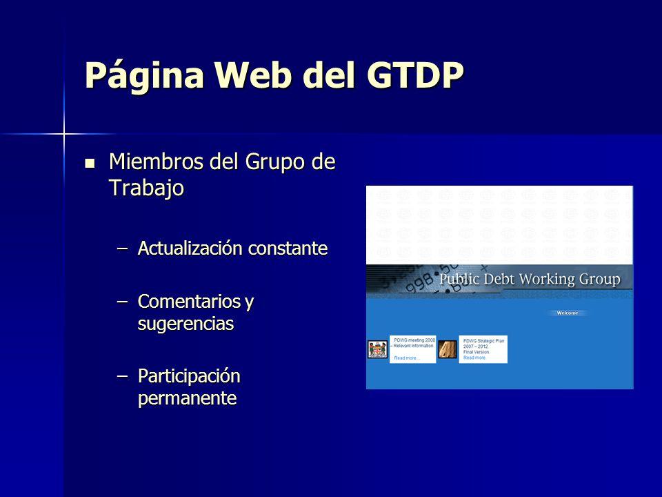 Página Web del GTDP Miembros del Grupo de Trabajo