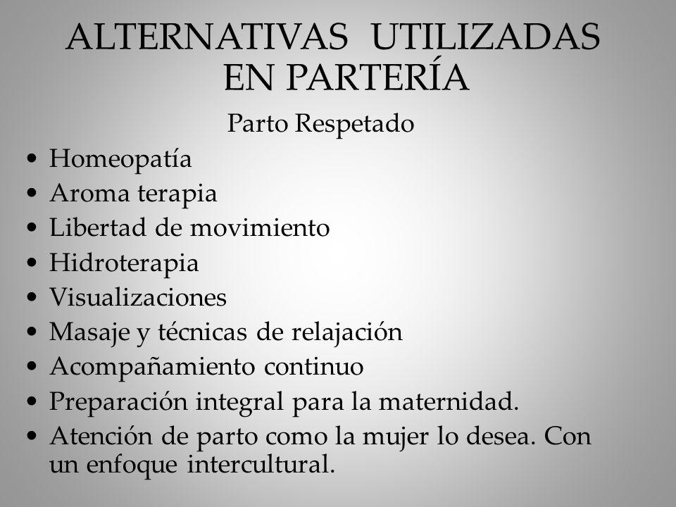 ALTERNATIVAS UTILIZADAS EN PARTERÍA