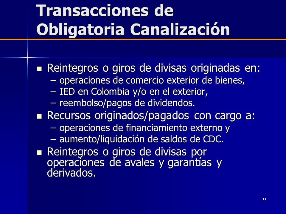 Transacciones de Obligatoria Canalización