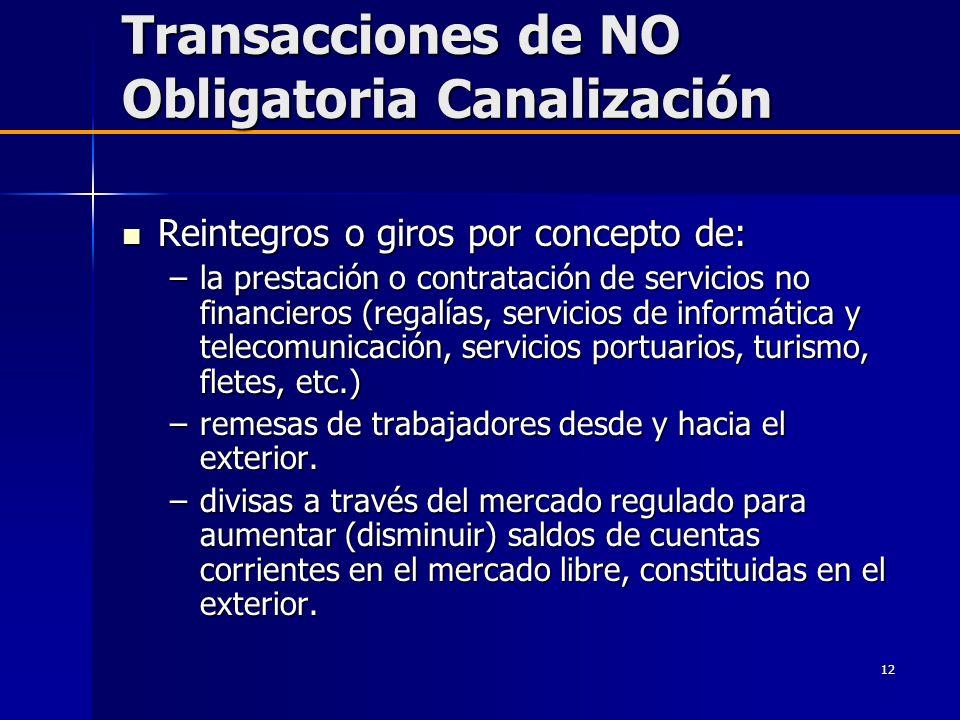 Transacciones de NO Obligatoria Canalización