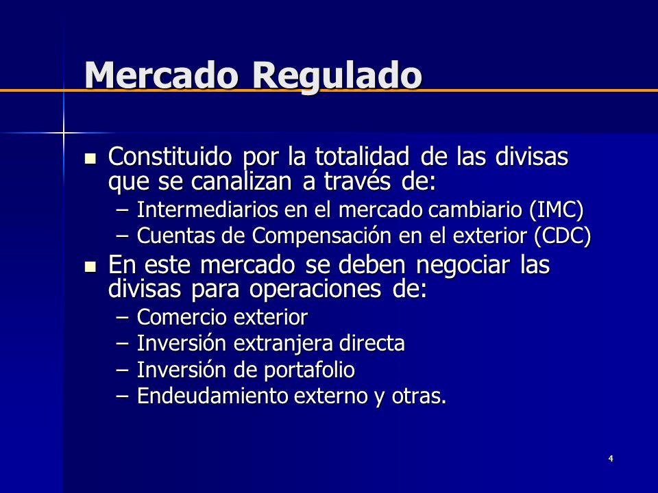 Mercado Regulado Constituido por la totalidad de las divisas que se canalizan a través de: Intermediarios en el mercado cambiario (IMC)