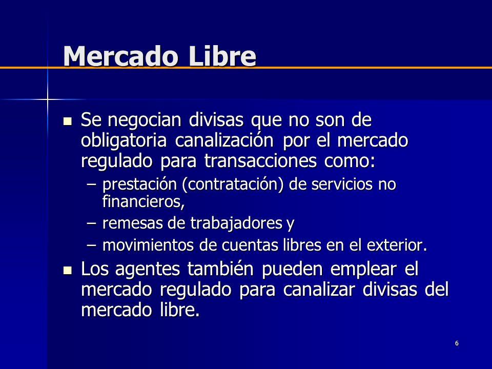Mercado Libre Se negocian divisas que no son de obligatoria canalización por el mercado regulado para transacciones como: