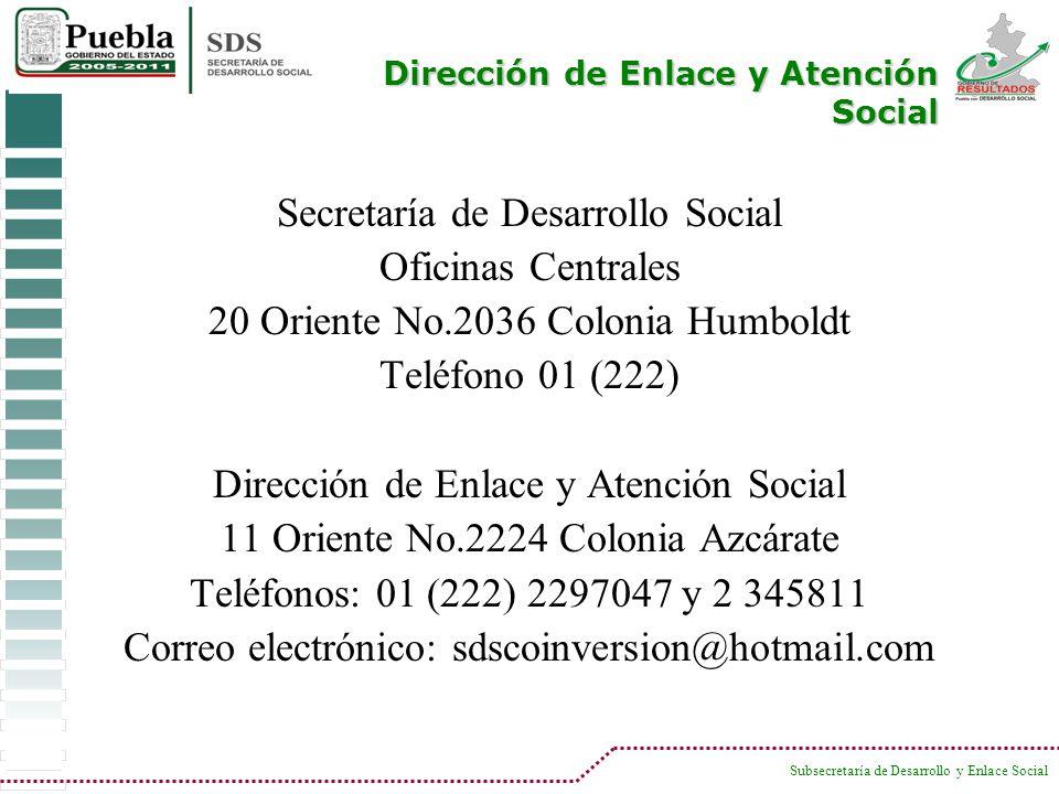 Secretaría de Desarrollo Social Oficinas Centrales