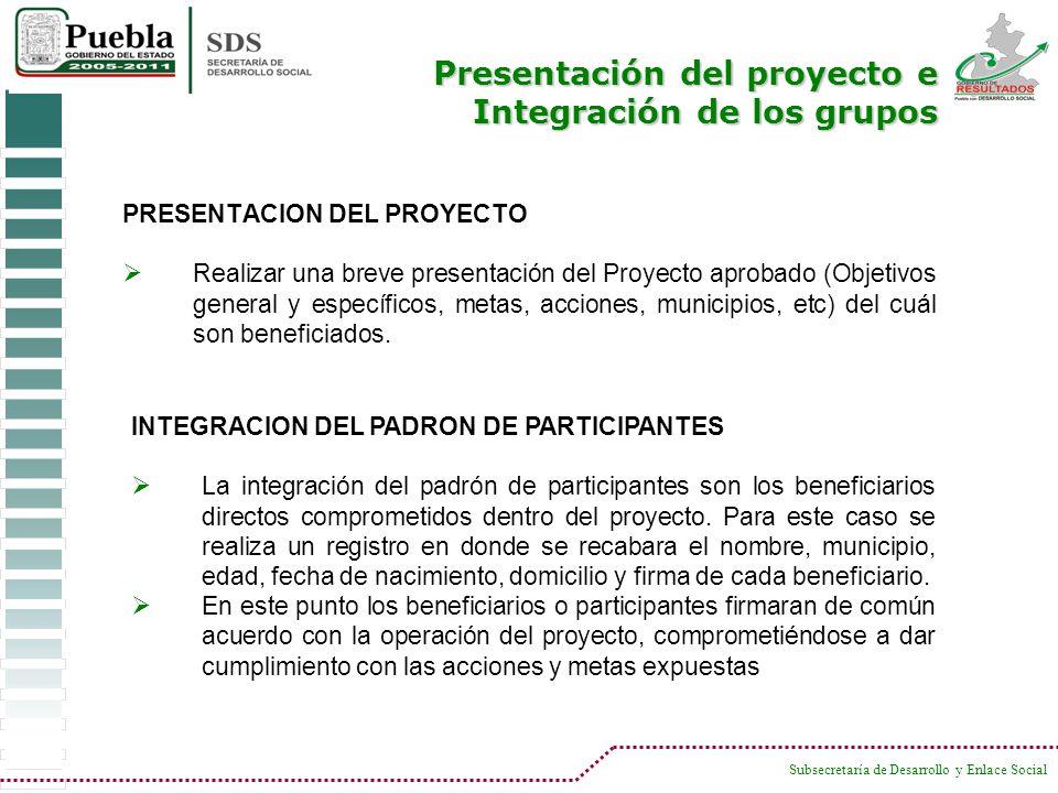 Presentación del proyecto e Integración de los grupos