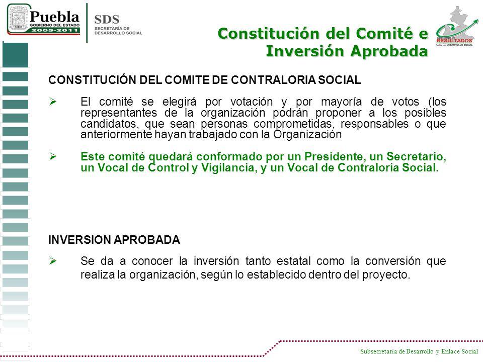 Constitución del Comité e Inversión Aprobada