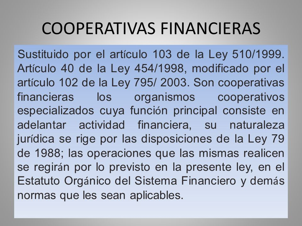 COOPERATIVAS FINANCIERAS