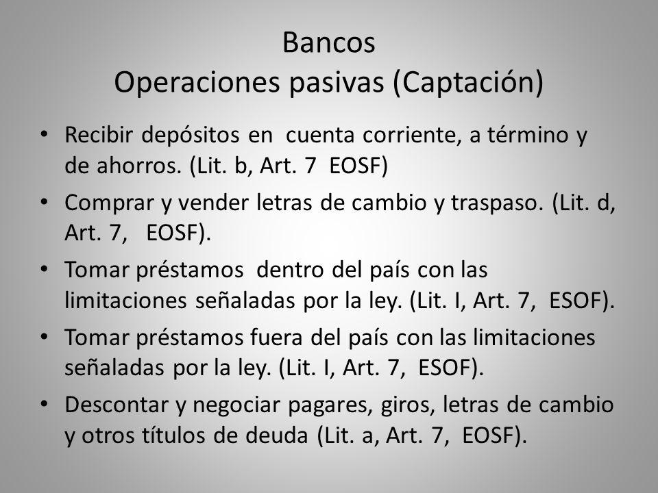 Bancos Operaciones pasivas (Captación)