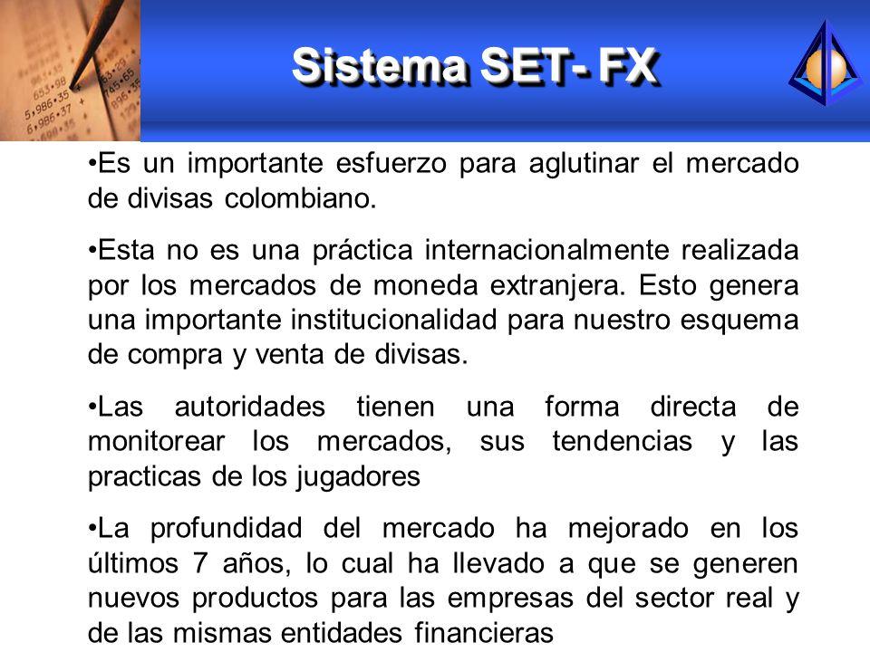 Sistema SET- FXEs un importante esfuerzo para aglutinar el mercado de divisas colombiano.