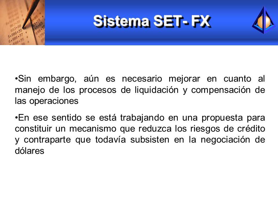 Sistema SET- FXSin embargo, aún es necesario mejorar en cuanto al manejo de los procesos de liquidación y compensación de las operaciones.