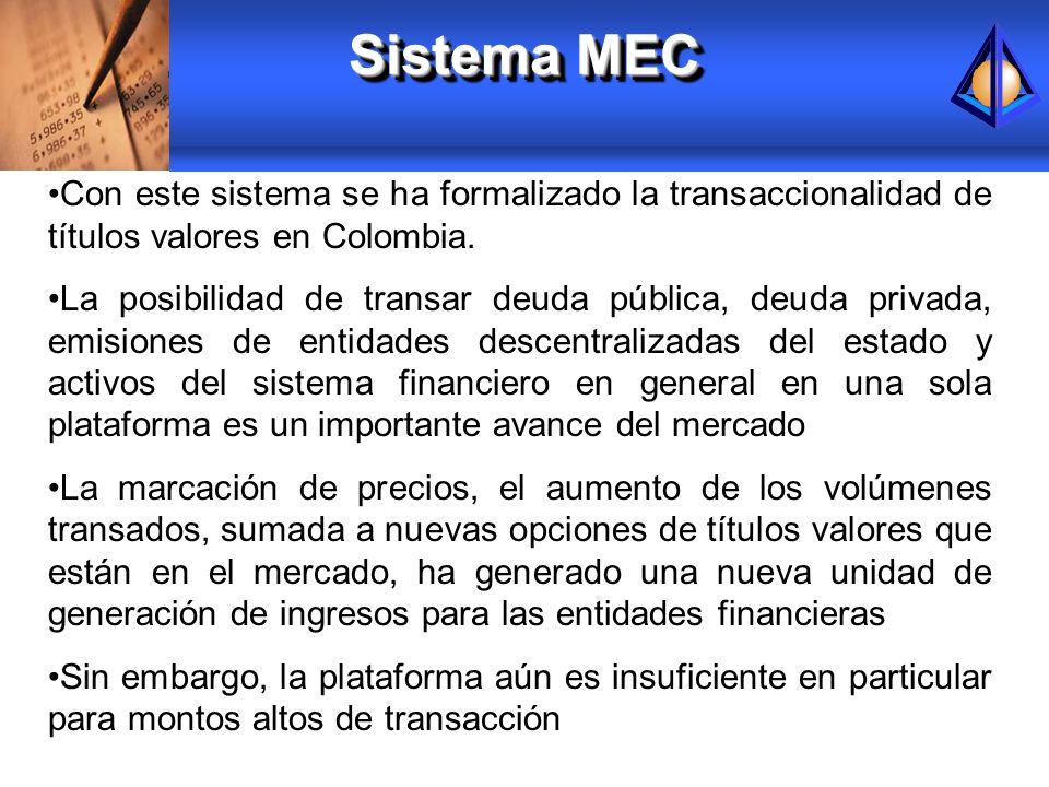 Sistema MEC Con este sistema se ha formalizado la transaccionalidad de títulos valores en Colombia.