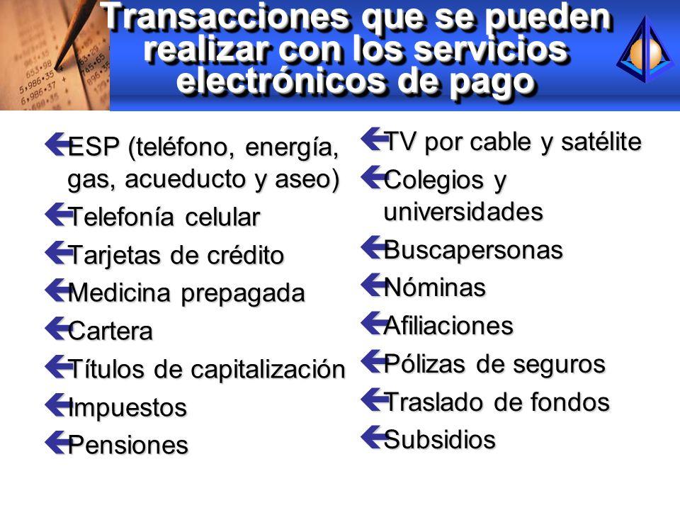 Transacciones que se pueden realizar con los servicios electrónicos de pago